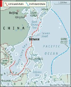(图)西太平洋的第一岛链与第二岛链,第一岛链的核心是台湾,第二岛链则是关岛。